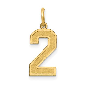 14k Medium Satin Number 2 Charm