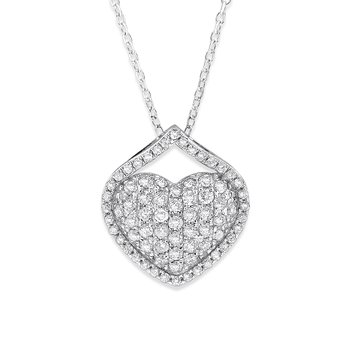 Diamond Pave Heart Necklace in 14K White Gold with 74 Diamonds Weighing .42 ct tw