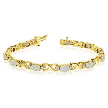 14k Yellow Gold Natural Opal And Diamond Tennis Bracelet