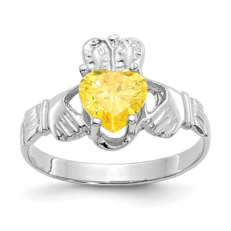 Quality Gold 14k White Gold November CZ Birthstone Claddagh Ring