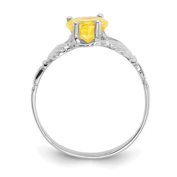 14k White Gold November CZ Birthstone Claddagh Ring