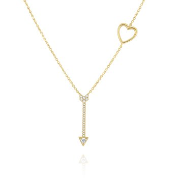 Diamond Heart & Arrow Necklace Set in 14 Kt. Gold