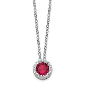 Cheryl M SS Rhodium Plated w/Created Ruby & CZ Pendant 18in Necklace
