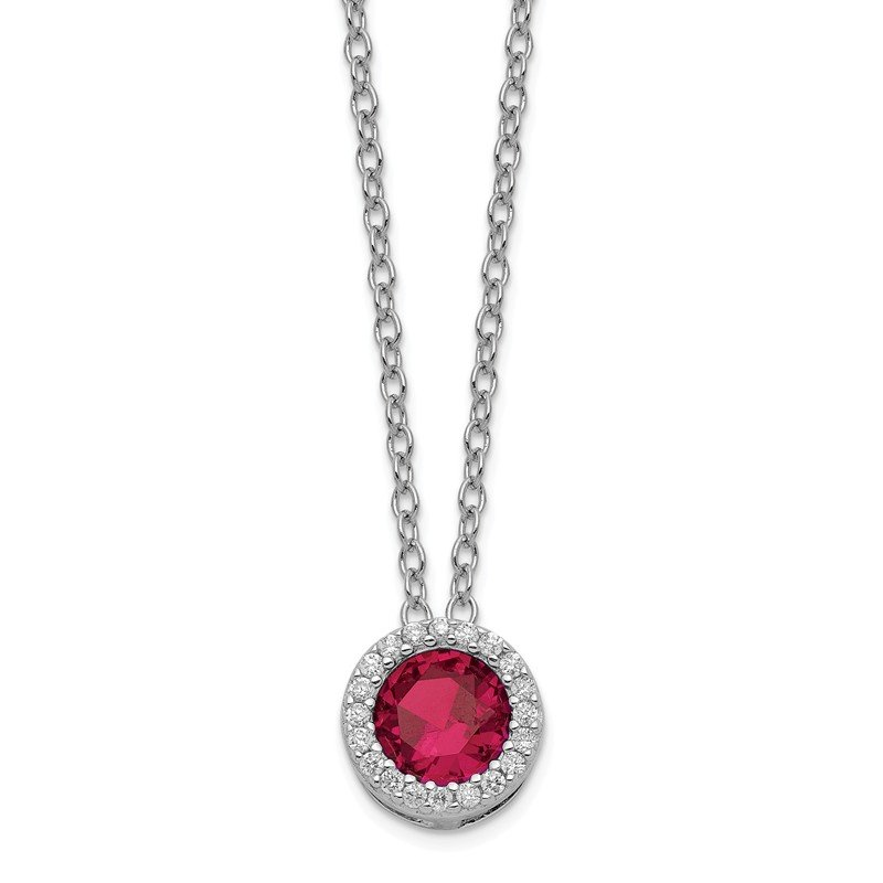Cheryl M Cheryl M SS Rhodium Plated w/Created Ruby & CZ Pendant 18in Necklace