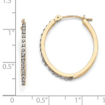 14k Diamond Fascination Oval Hinged Hoop Earrings