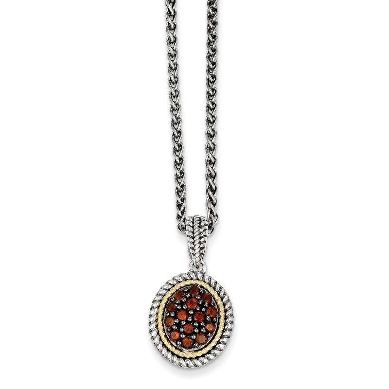 Shey Couture Sterling Silver w/14k Garnet Necklace