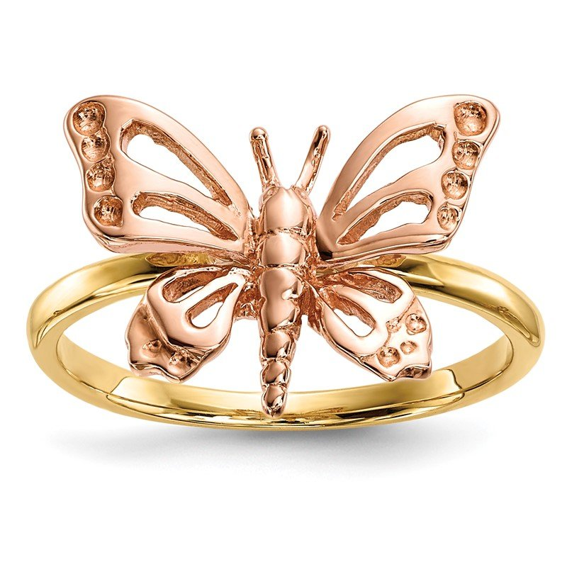 Quality Gold 14k Two-tone Polished Butterfly Ring