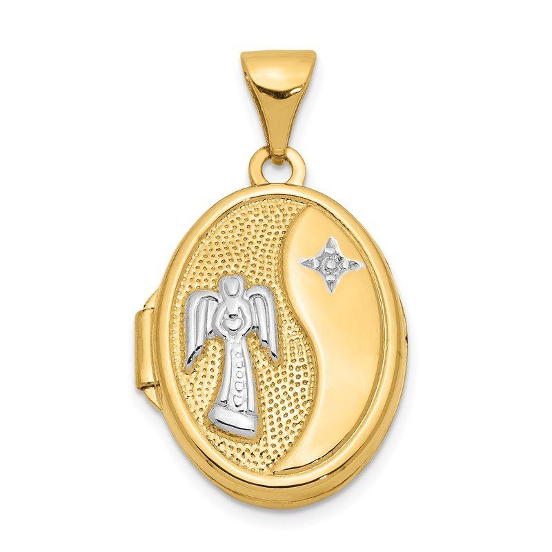 Quality Gold 14k Rhodium 17mm Guardian Angel Oval Locket