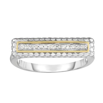 Sterling Silver & 18K Gold Bar Ring