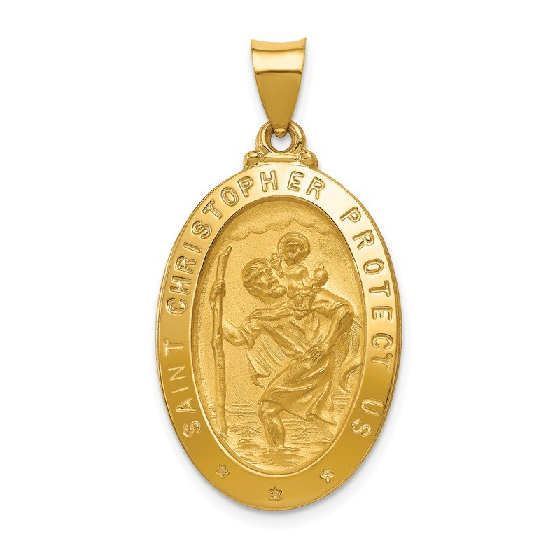 Quality Gold 14k Polished and Satin St Christopher Medal Hollow Pendant