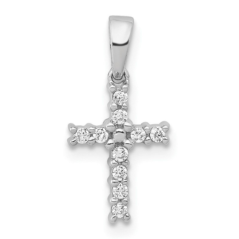 Quality Gold 14k White Gold Diamond Latin Cross Pendant
