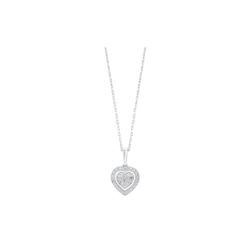 Calvin Broyles Diamond Halo Heart Cluster Pendant Necklace in Sterling Silver (⅕ ctw)