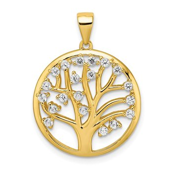 Sterling Silver Gold-tone Created White Sapphire Tree of Life Pendant