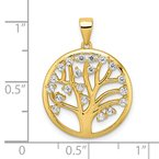 Fine Jewelry by JBD Sterling Silver Gold-tone Created White Sapphire Tree of Life Pendant