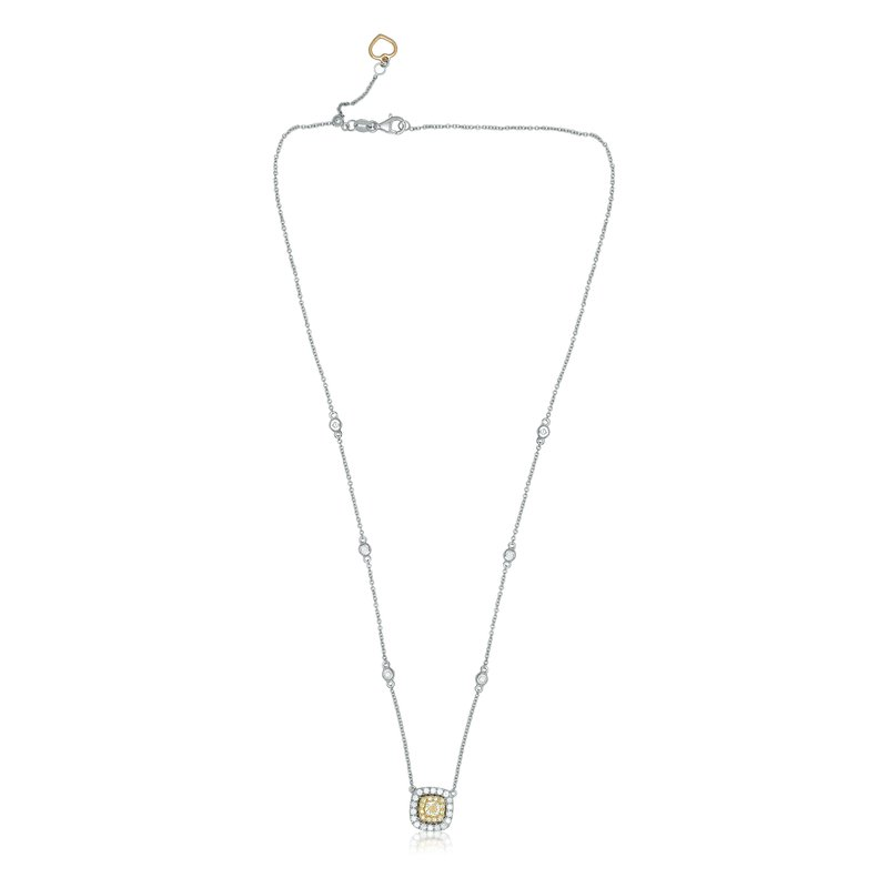 Roman & Jules Double Halo Diamond Drop Necklace