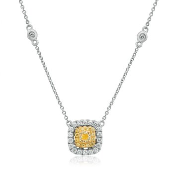 Double Halo Diamond Drop Necklace