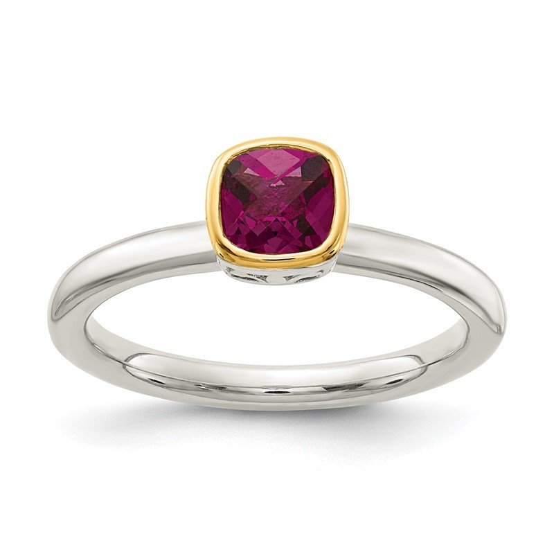Quality Gold Sterling Silver w/ 14K Accent Rhodolite Garnet Ring