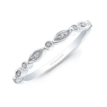 White Gold Alternating Shapes Stackable Band