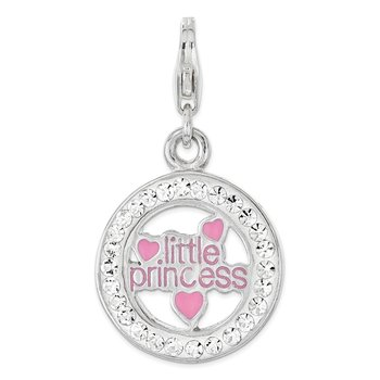 Sterling Silver RH w/Lobster Clasp Enamel & Crystal Little Princess Charm