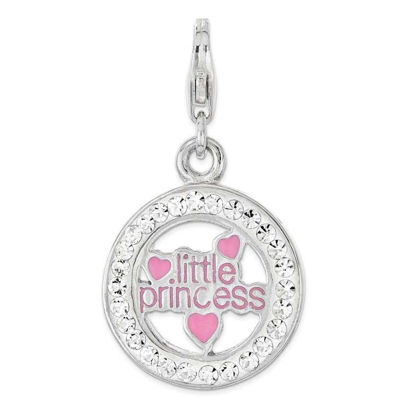 Quality Gold Sterling Silver RH w/Lobster Clasp Enamel & Crystal Little Princess Charm
