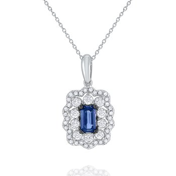 Sapphire & Diamond Pendant Set in 14 Kt. Gold