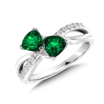 Trillion-Cut  Created Emerald and Diamond Criss-Cross Ring