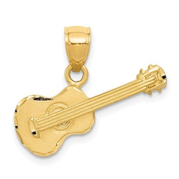 14k Satin Diamond-cut Acoustic Guitar Pendant