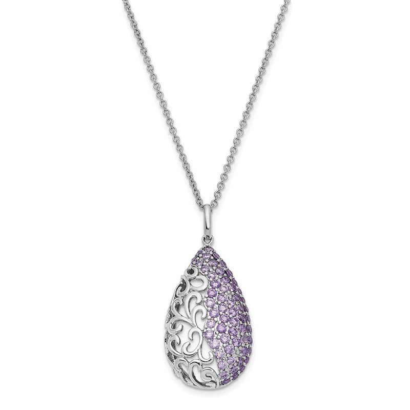 Quality Gold Sterling Silver Purple CZ Long Goodbye 18in. Necklace