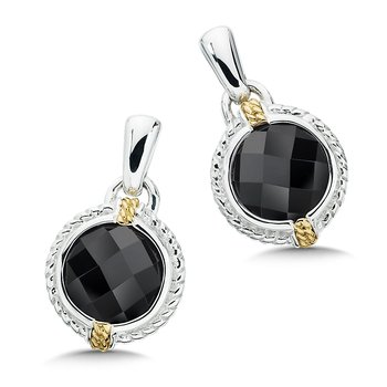 Sterling Silver, 18K Gold and Onyx Earrings