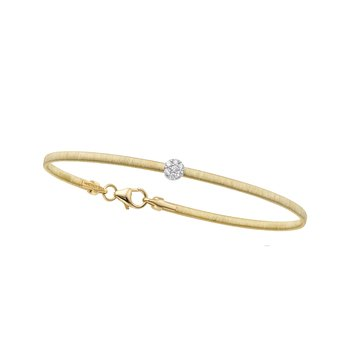 14K Gold Satin Italian Silk Diamond Bangle