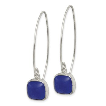 Sterling Silver Blue Sea Glass Dangle Earrings