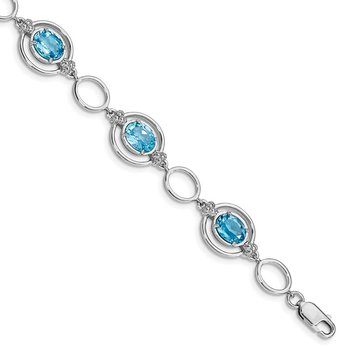 Sterling Silver Rhodium-plated Lt. Swiss Blue Topaz Open Link Bracelet