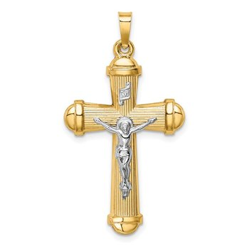 14k Two-tone Hollow Polished Crucifix