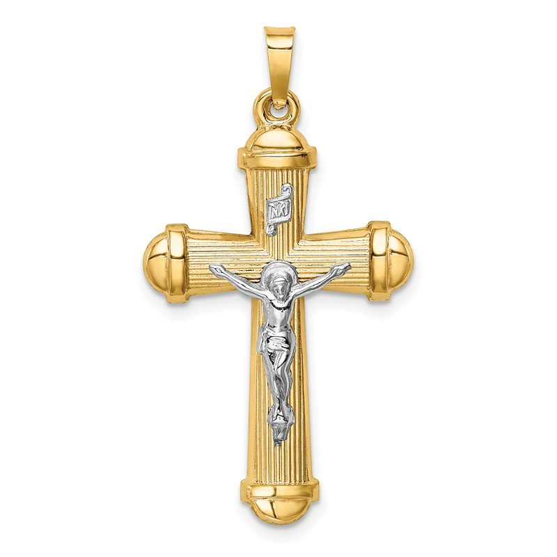 Quality Gold 14k Two-tone Hollow Polished Crucifix