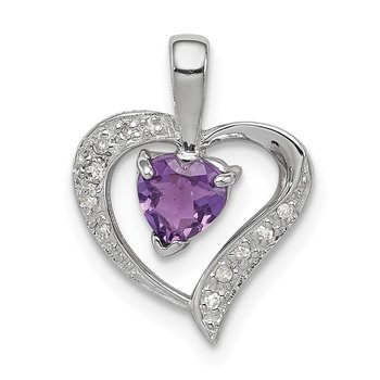 Sterling Silver Rhodium Heart Amethyst & Diamond Heart Pendant