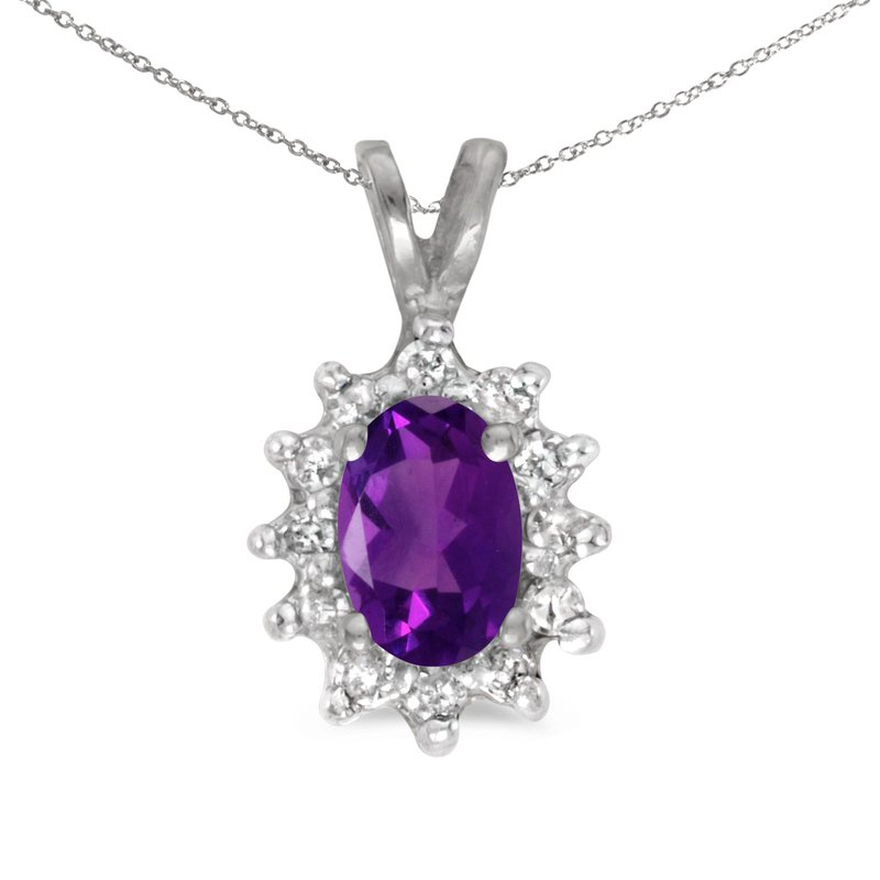 10k White Gold Oval Amethyst And Diamond Pendant