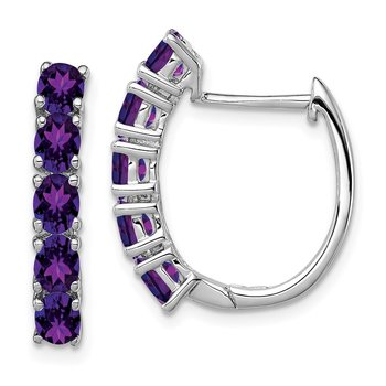 Sterling Silver Rhodium-plated Polished Amethyst Hinged Hoop Earrings