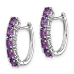 Quality Gold Sterling Silver Rhodium-plated Polished Amethyst Hinged Hoop Earrings