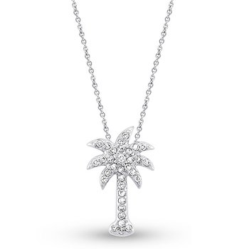 Diamond Small Palm Tree Necklace in 14k White Gold with 33 Diamonds weighing .21ct tw.
