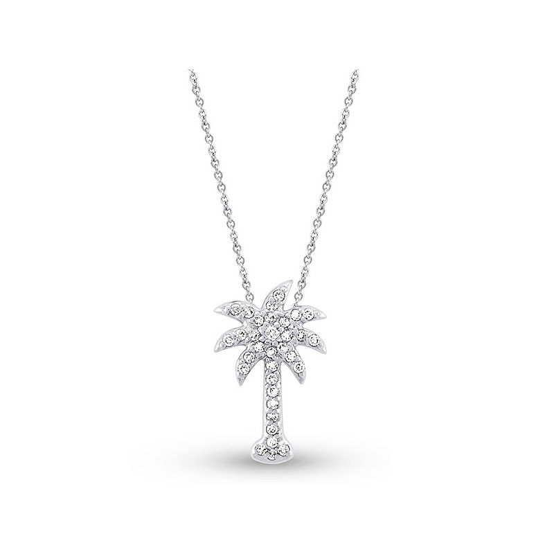 KC Designs Diamond Small Palm Tree Necklace in 14k White Gold with 33 Diamonds weighing .21ct tw.