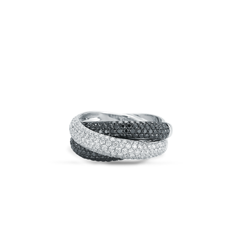 Roberto Coin Cross Over Ring With Diamonds