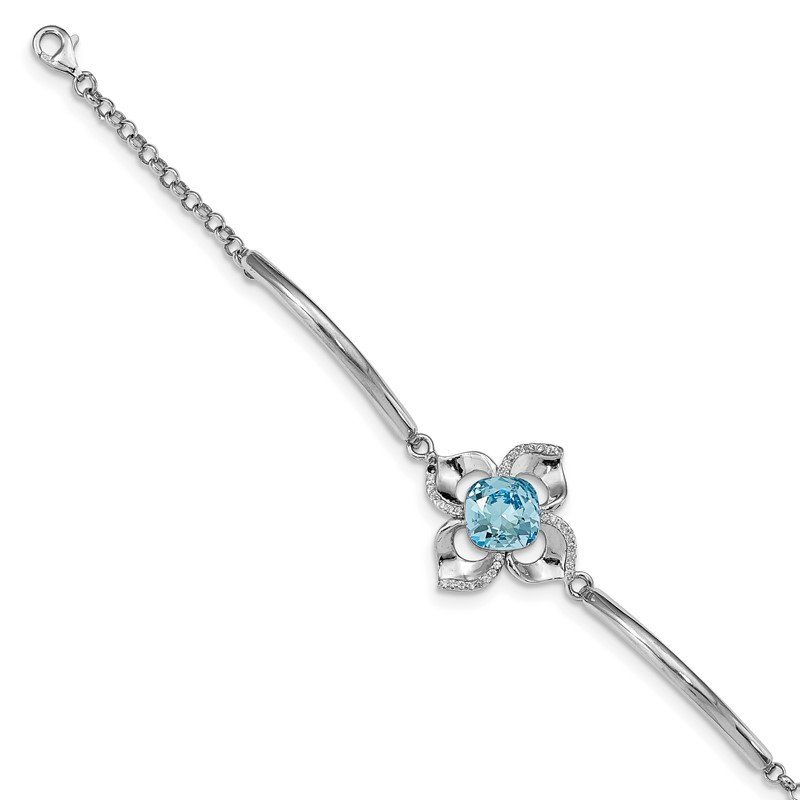 Quality Gold Sterling Silver RH-plated Clear/Blue Crystal Flower w/1in ext Bracelet