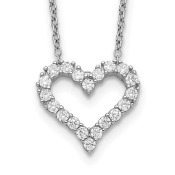 Sterling Silver Rhodium-plated CZ Heart w/ 2in ext. Necklace