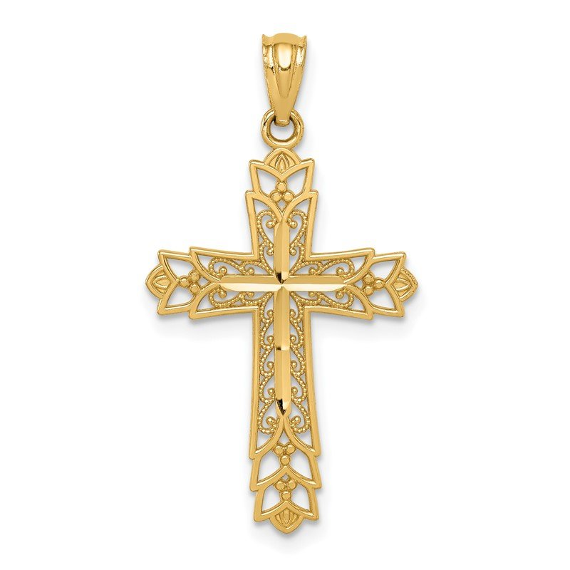 Quality Gold 14k Gold Polished Filigree Cross Pendant