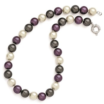 Sterling S Majestik Rh-pl 12-13mm Multi-color Imitat Shell Pearl Necklace