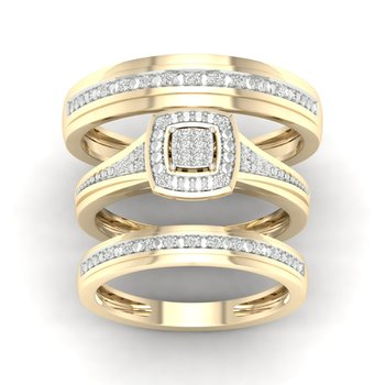 10K 0.10Ct Diam Trio Set