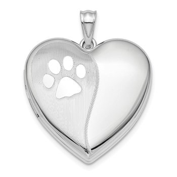 Sterling Silver Rhod-plated Satin/Pol Paw Prints Ash Holder Heart Locket