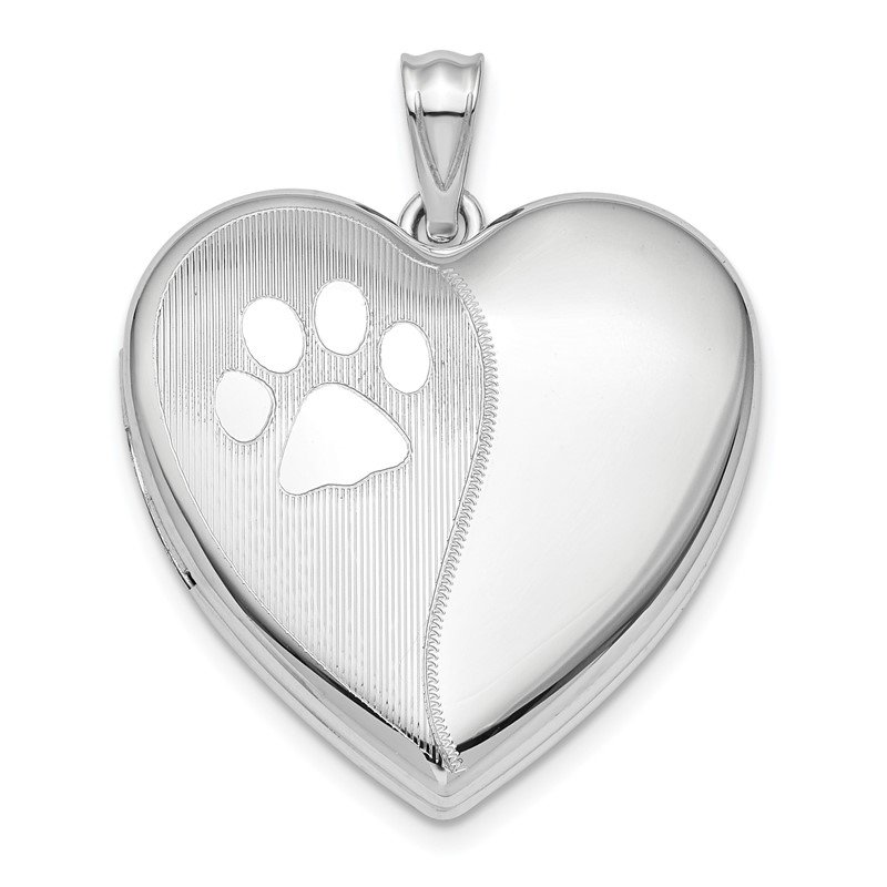 Arizona Diamond Center Collection Sterling Silver Rhod-plated Satin/Pol Paw Prints Ash Holder Heart Locket
