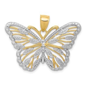 14k and Rhodium Butterfly Pendant