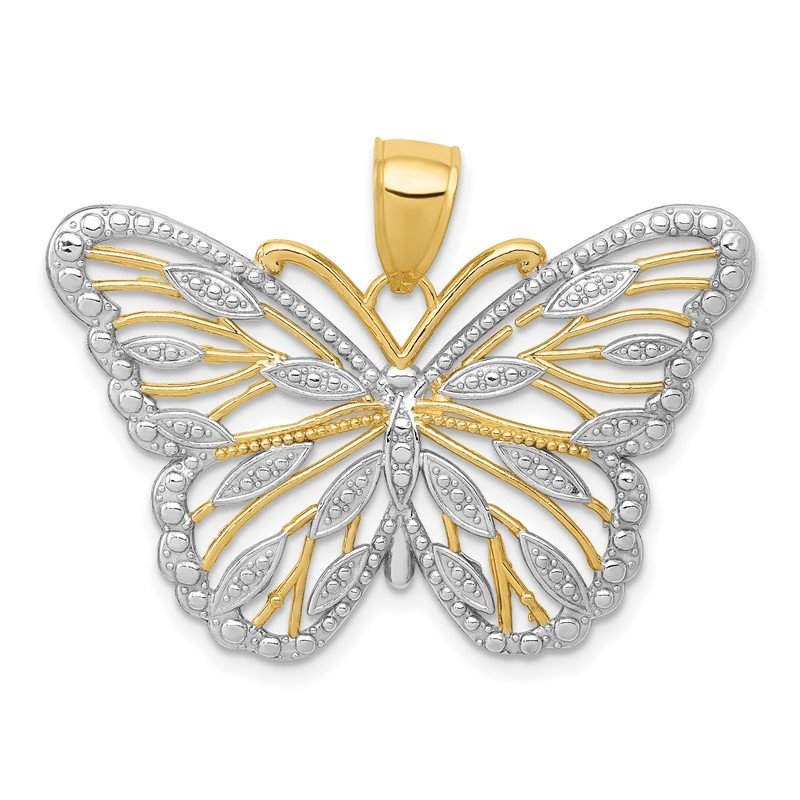 Quality Gold 14k and Rhodium Butterfly Pendant